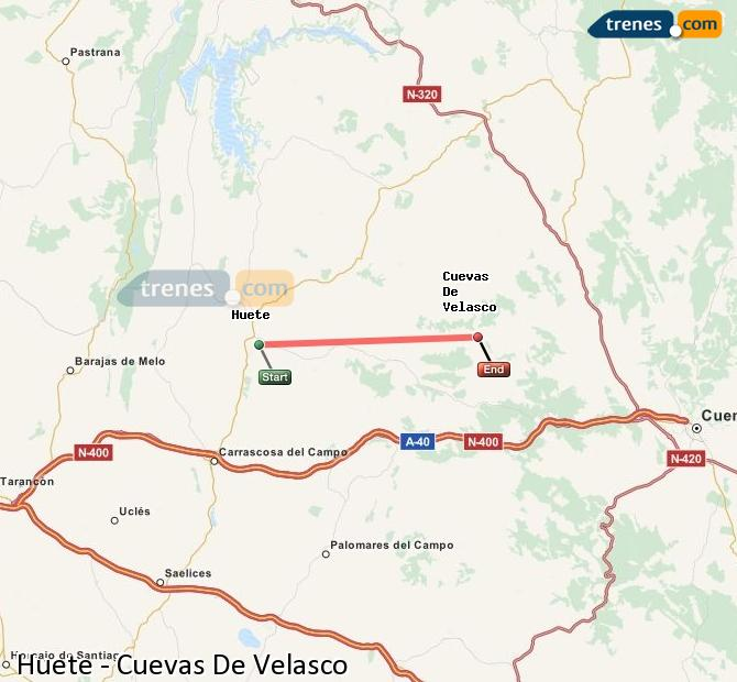 Enlarge map Trains Huete to Cuevas De Velasco