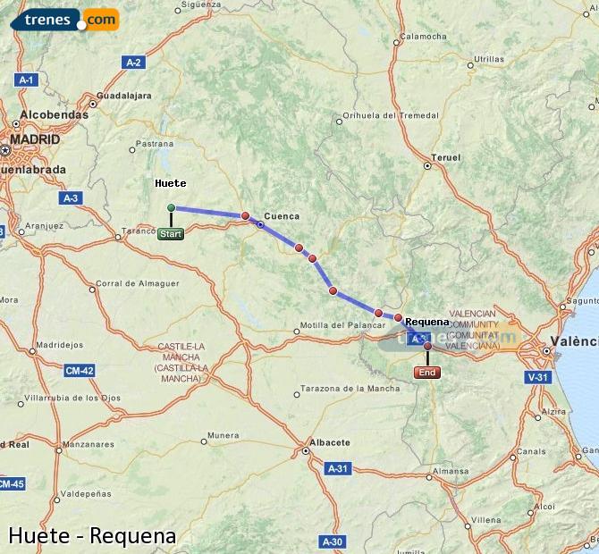 Ampliar mapa Trenes Huete Requena