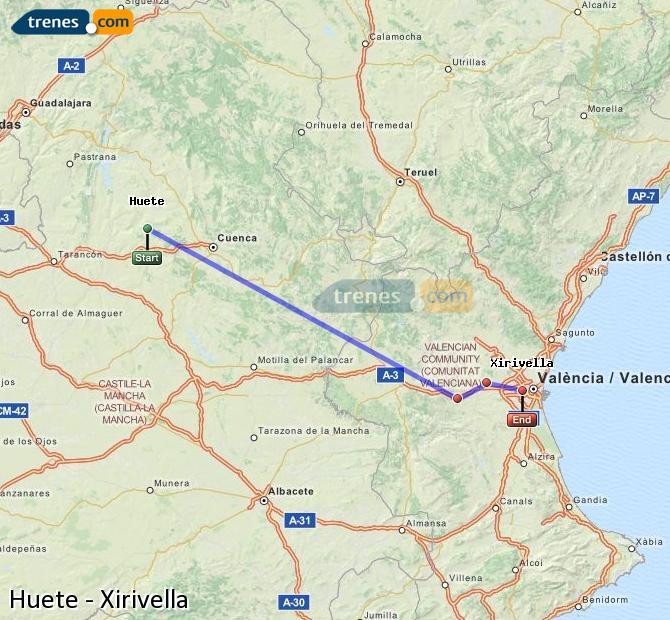 Ingrandisci la mappa Treni Huete Xirivella