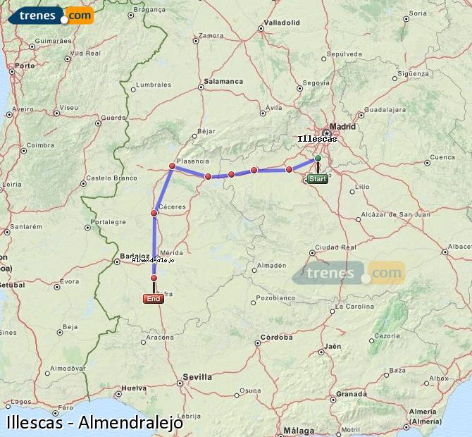 Enlarge map Trains Illescas to Almendralejo