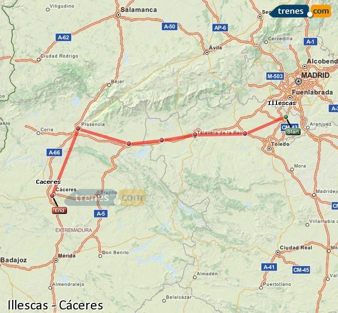 Ampliar mapa Trenes Illescas Cáceres