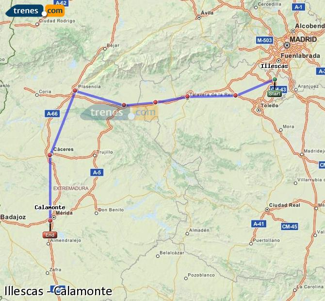 Enlarge map Trains Illescas to Calamonte
