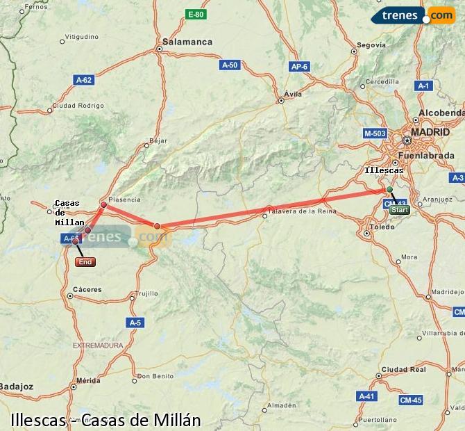 Agrandir la carte Trains Illescas Casas de Millán