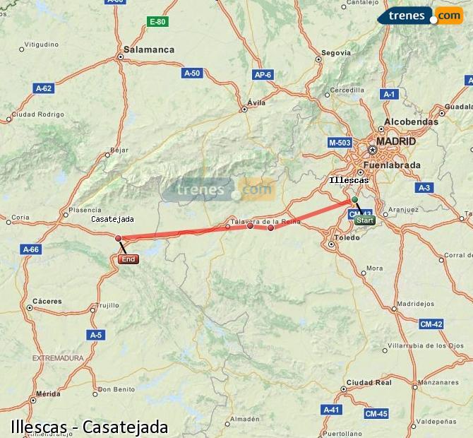 Karte vergrößern Züge Illescas Casatejada