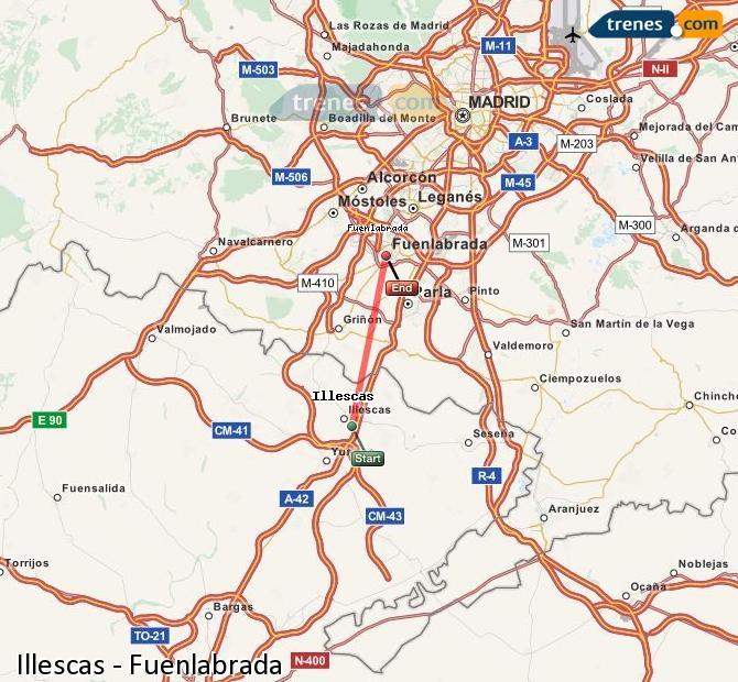 Enlarge map Trains Illescas to Fuenlabrada