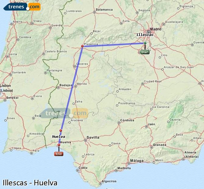 Agrandir la carte Trains Illescas Huelva