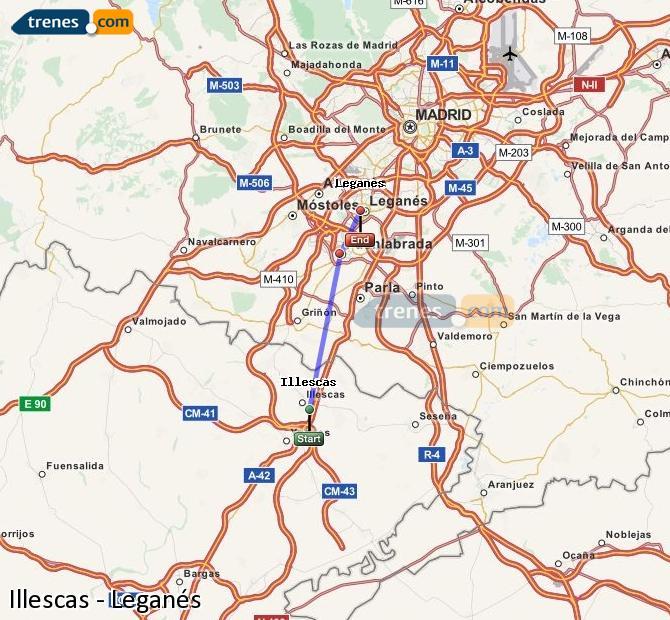 Karte vergrößern Züge Illescas Leganés
