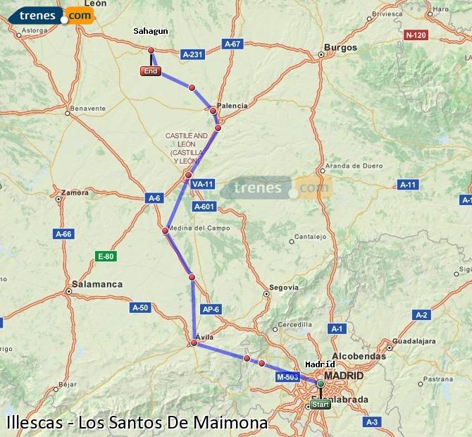 Karte vergrößern Züge Illescas Los Santos De Maimona