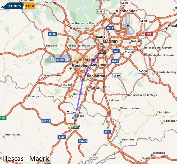 Karte vergrößern Züge Illescas Madrid
