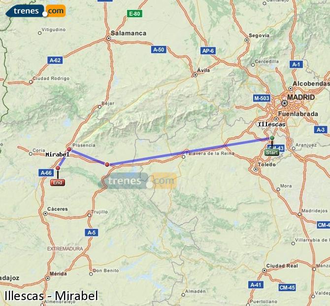 Agrandir la carte Trains Illescas Mirabel
