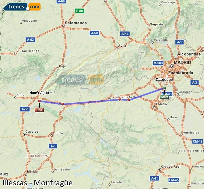 Ingrandisci la mappa Treni Illescas Monfragüe