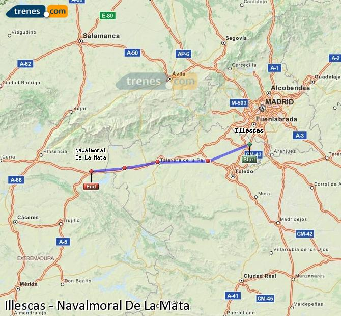 Enlarge map Trains Illescas to Navalmoral De La Mata