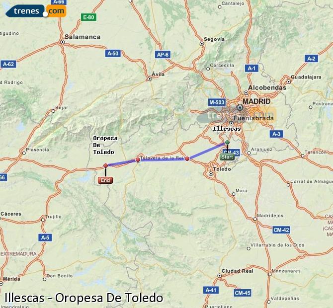 Agrandir la carte Trains Illescas Oropesa De Toledo