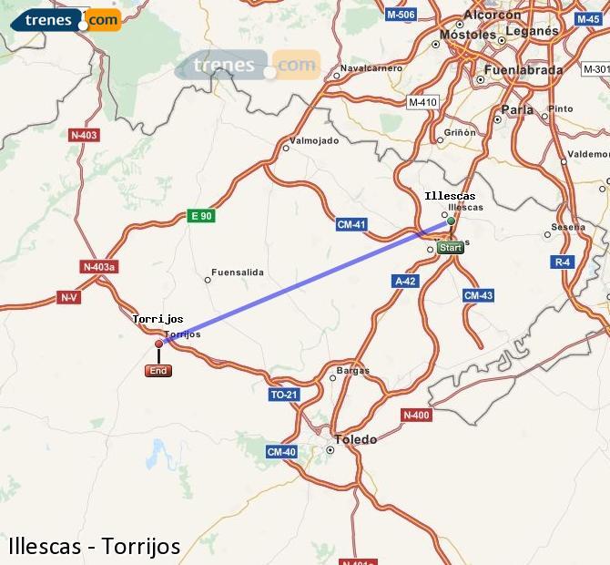 Enlarge map Trains Illescas to Torrijos