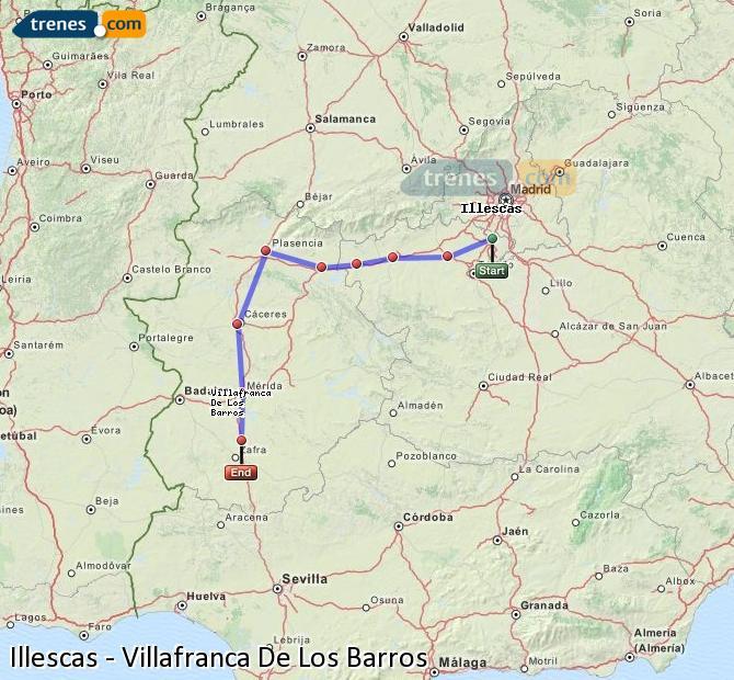 Enlarge map Trains Illescas to Villafranca De Los Barros
