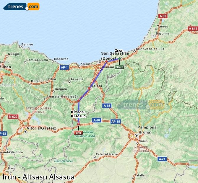 Enlarge map Trains Irun to Altsasu Alsasua