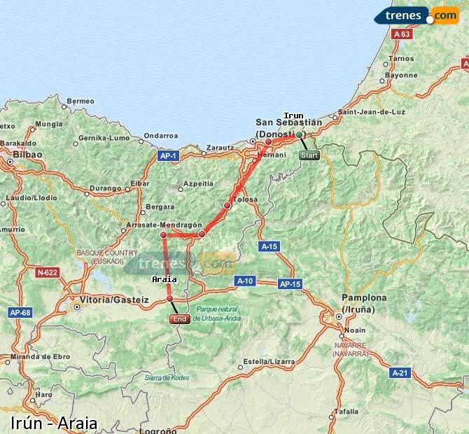 Ampliar mapa Comboios Irún Araia