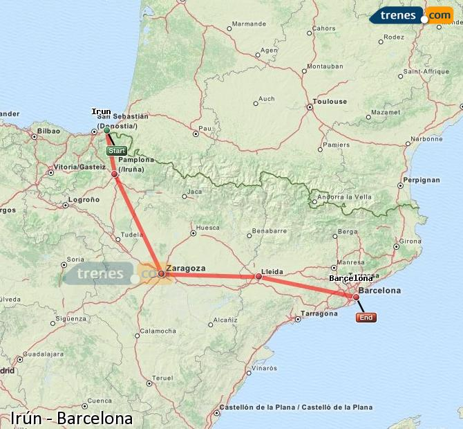 Karte vergrößern Züge Irún Barcelona