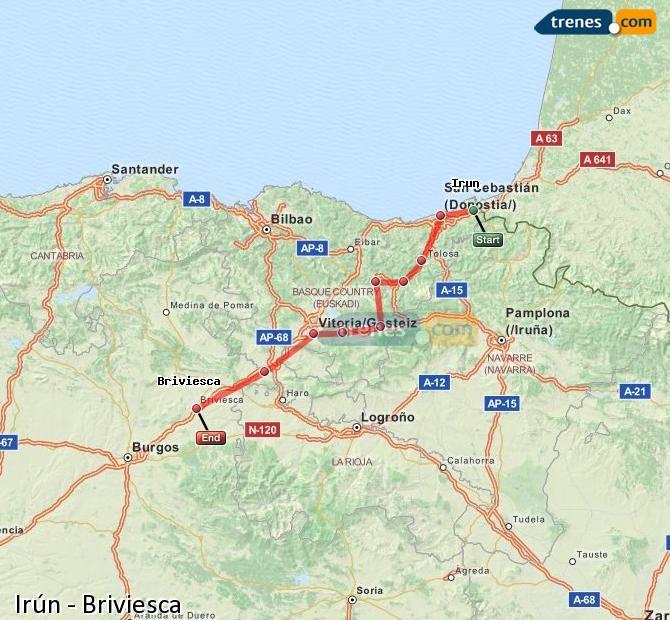 Karte vergrößern Züge Irún Briviesca