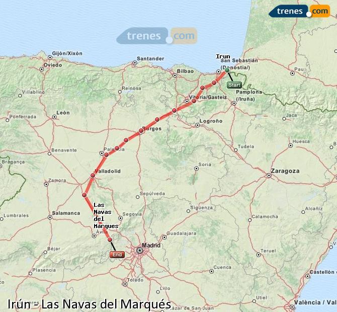 Ingrandisci la mappa Treni Irún Las Navas del Marqués
