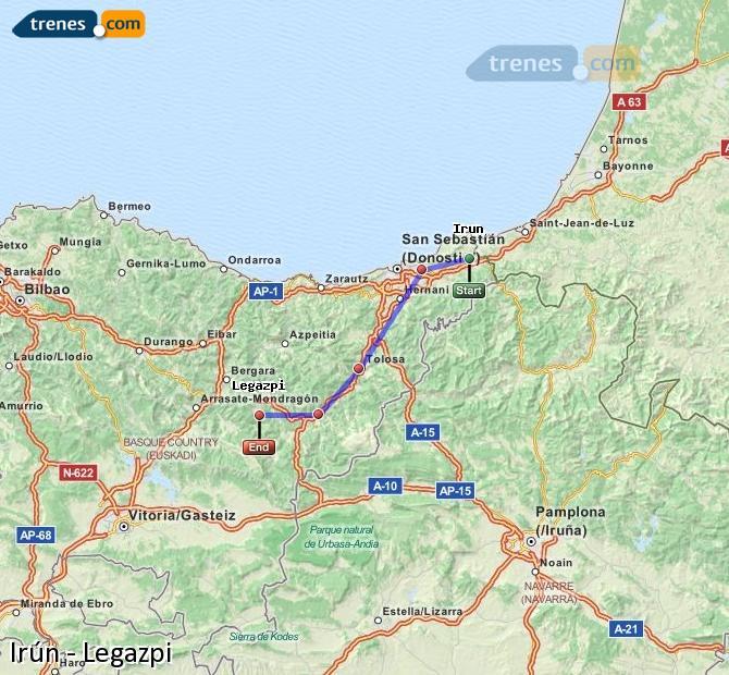 Ingrandisci la mappa Treni Irún Legazpi