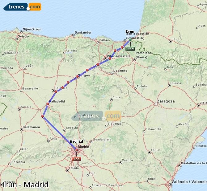 Enlarge map Trains Irun to Madrid