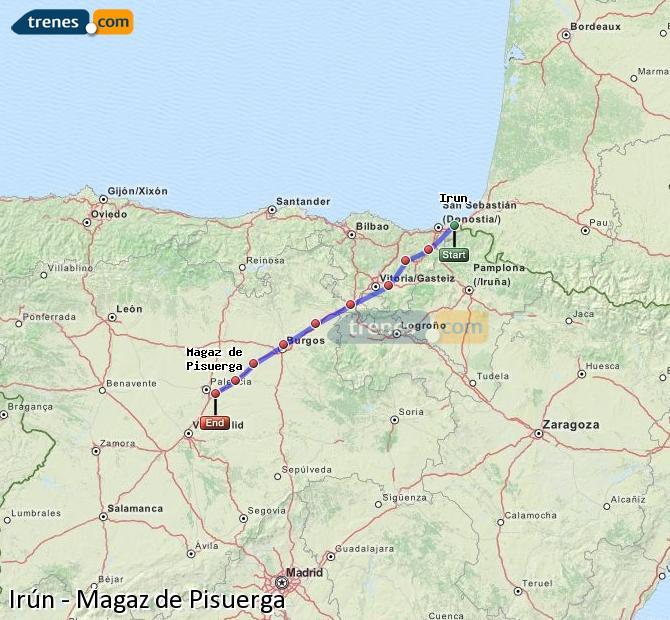 Karte vergrößern Züge Irún Magaz de Pisuerga