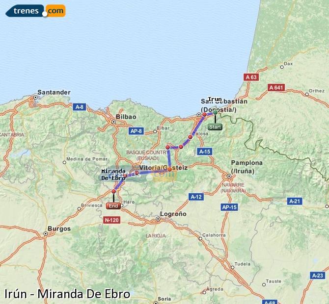 Ingrandisci la mappa Treni Irún Miranda De Ebro