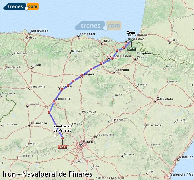 Karte vergrößern Züge Irún Navalperal de Pinares