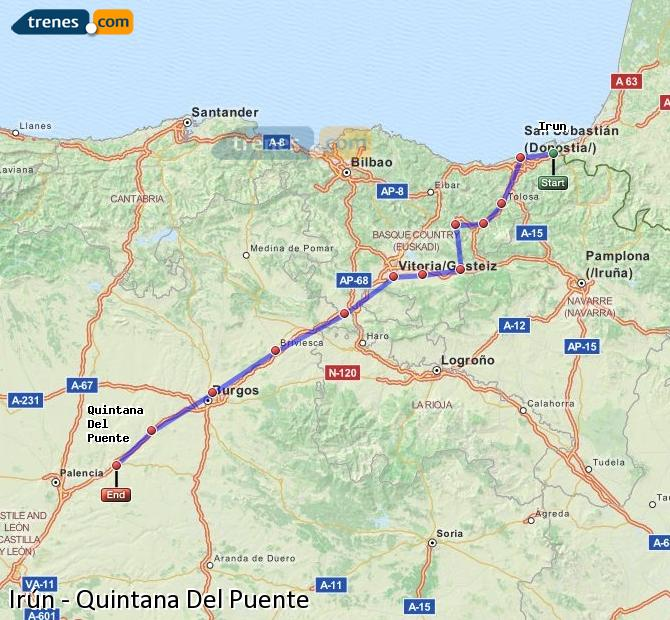 Karte vergrößern Züge Irún Quintana Del Puente