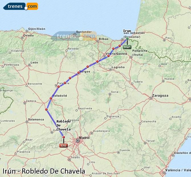 Enlarge map Trains Irun to Robledo De Chavela