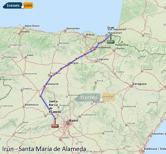 Enlarge map Trains Irun to Santa Maria de Alameda