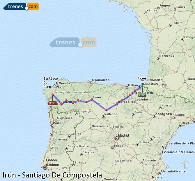 Ingrandisci la mappa Treni Irún Santiago De Compostela
