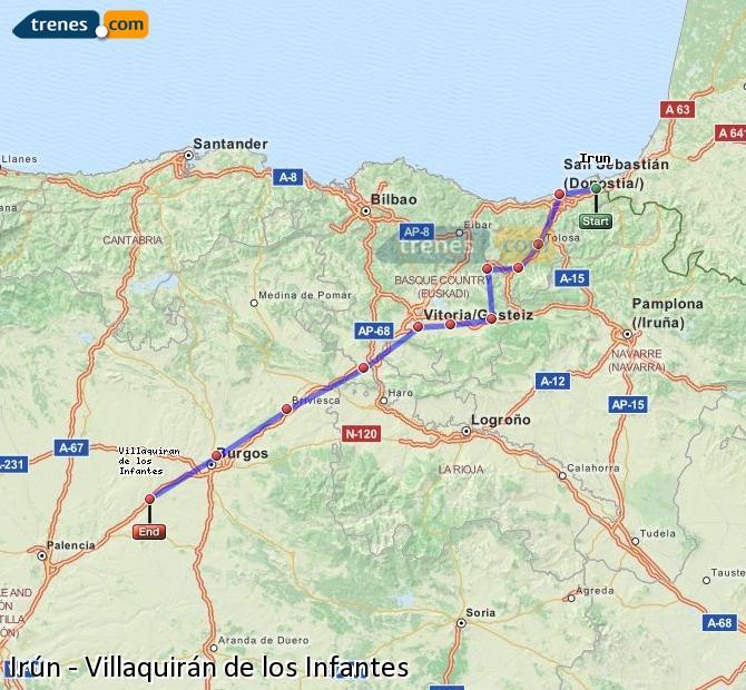 Agrandir la carte Trains Irún Villaquirán de los Infantes