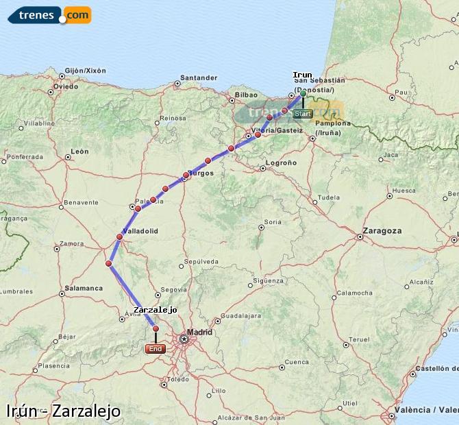 Enlarge map Trains Irun to Zarzalejo