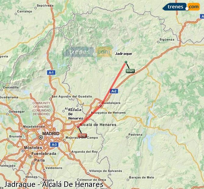 Enlarge map Trains Jadraque to Alcalá De Henares