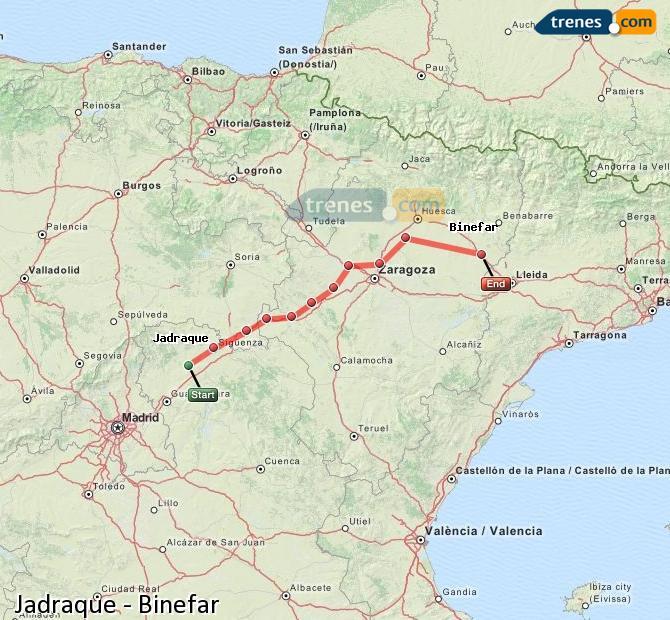 Ingrandisci la mappa Treni Jadraque Binefar
