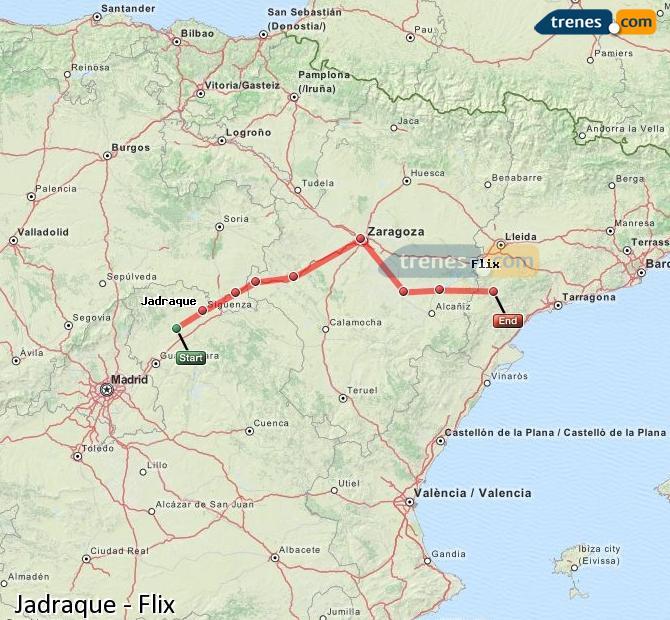 Karte vergrößern Züge Jadraque Flix