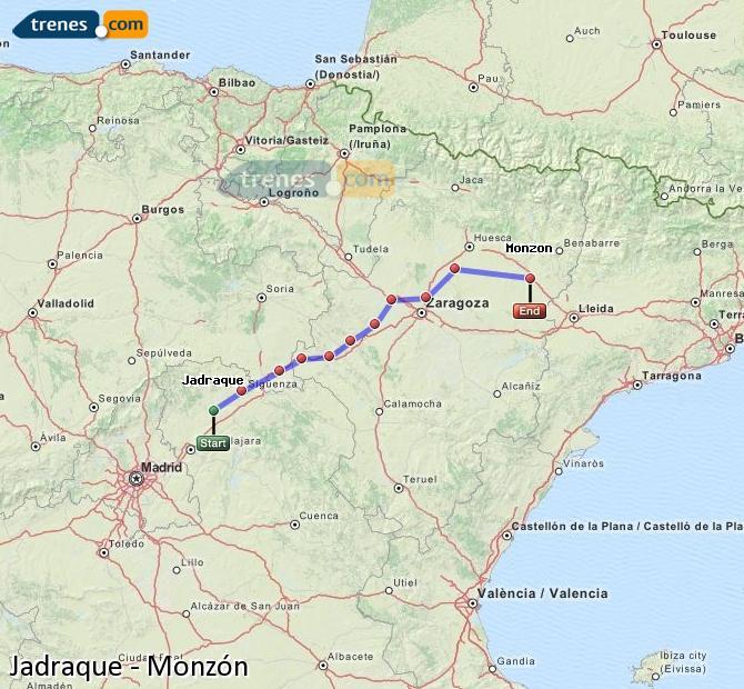Agrandir la carte Trains Jadraque Monzón
