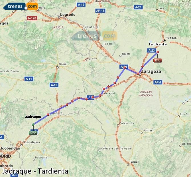 Enlarge map Trains Jadraque to Tardienta