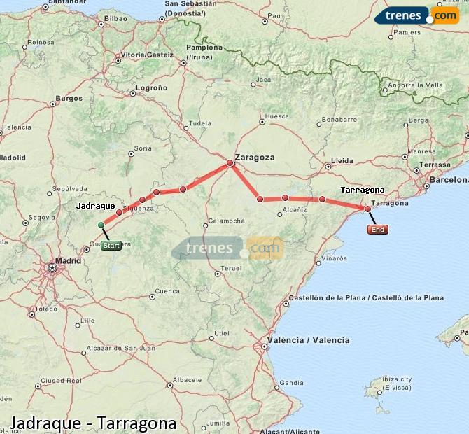 Enlarge map Trains Jadraque to Tarragona