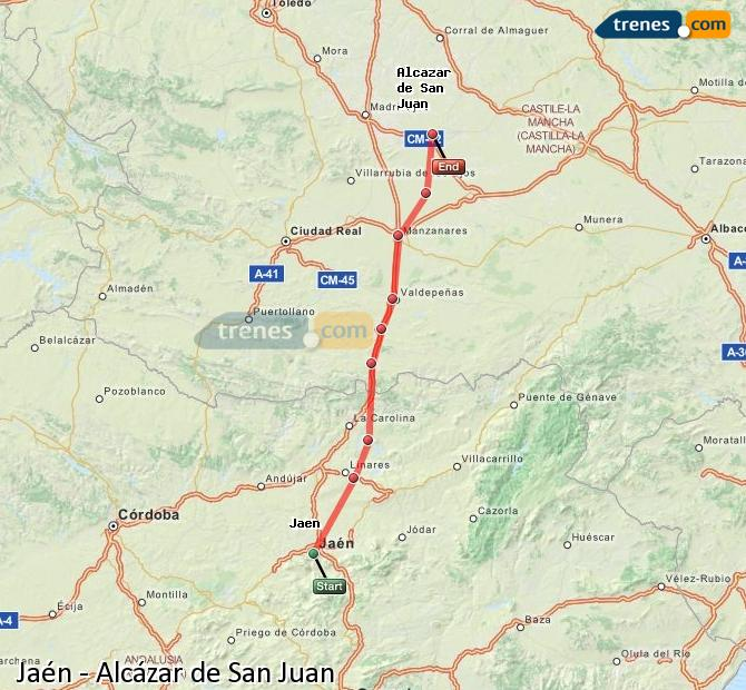 Enlarge map Trains Jaén to Alcazar de San Juan