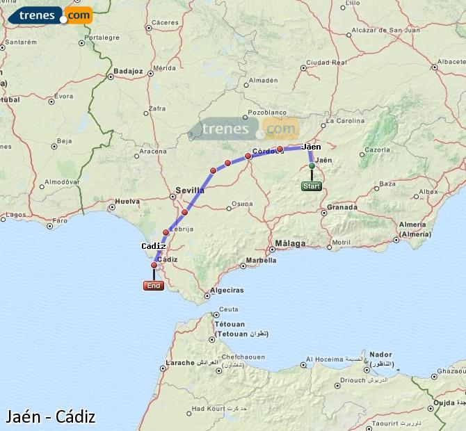 Ampliar mapa Trenes Jaén Cádiz