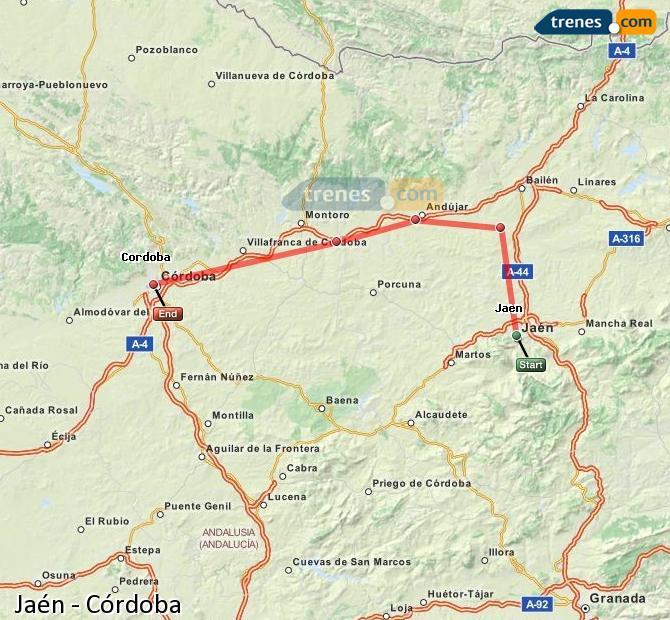Enlarge map Trains Jaén to Córdoba