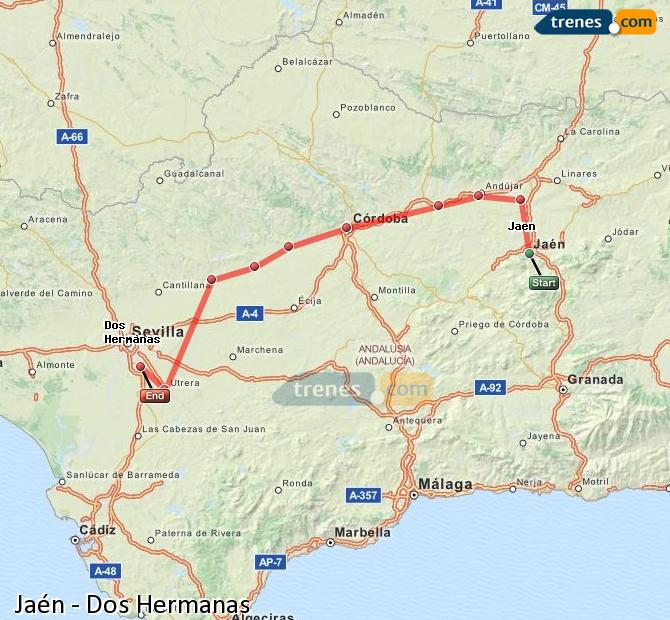 Agrandir la carte Trains Jaén Dos Hermanas