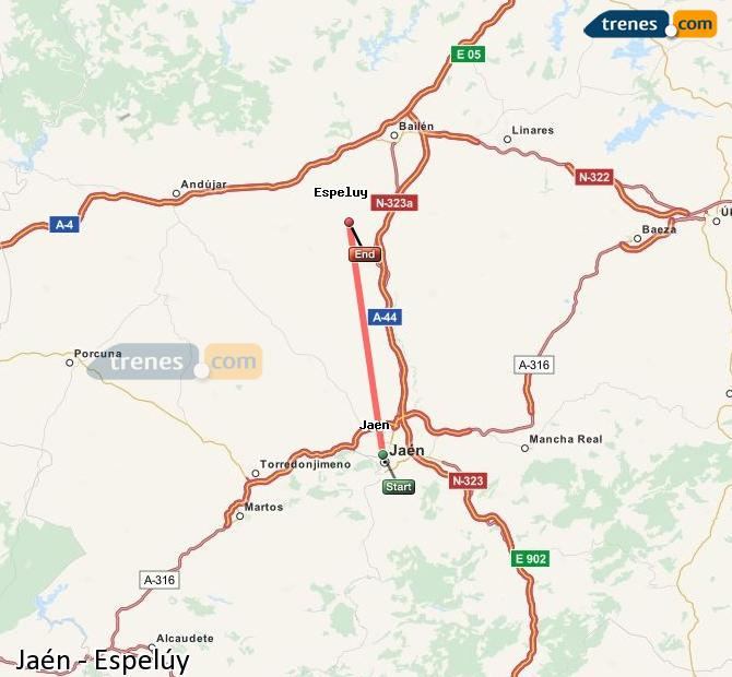 Enlarge map Trains Jaén to Espelúy