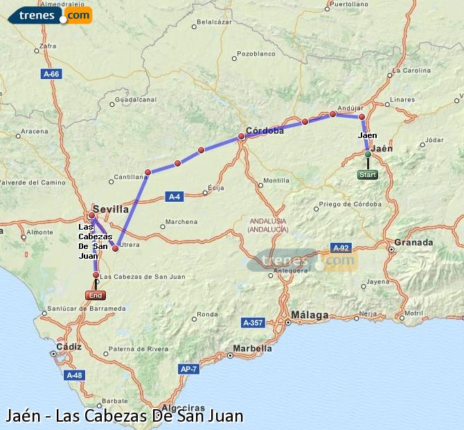 Enlarge map Trains Jaén to Las Cabezas De San Juan