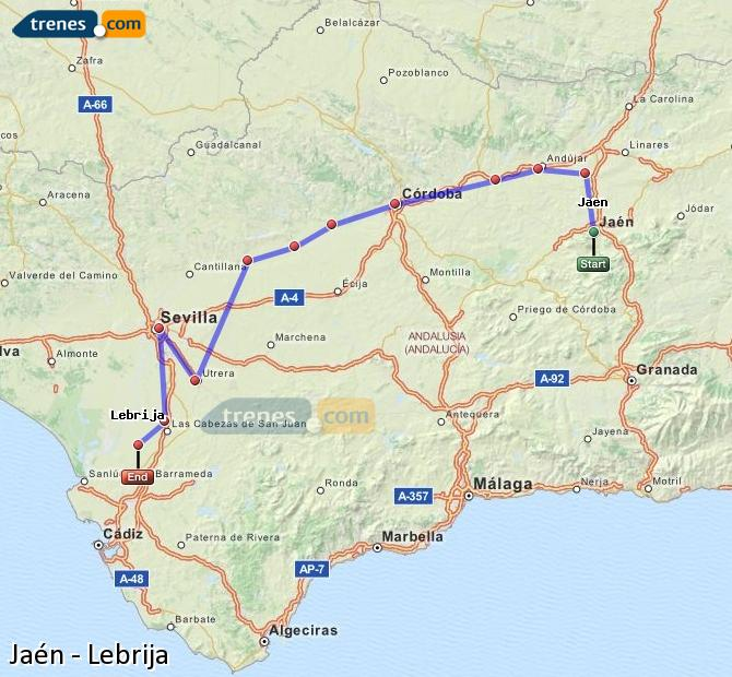 Agrandir la carte Trains Jaén Lebrija