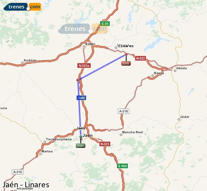 Enlarge map Trains Jaén to Linares