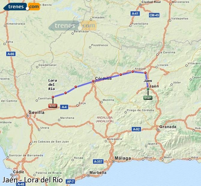 Enlarge map Trains Jaén to Lora del Río
